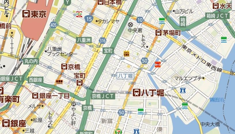 八丁堀の地図